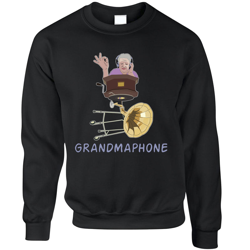 Novelty Music Sweatshirt Grandmaphone Illustration