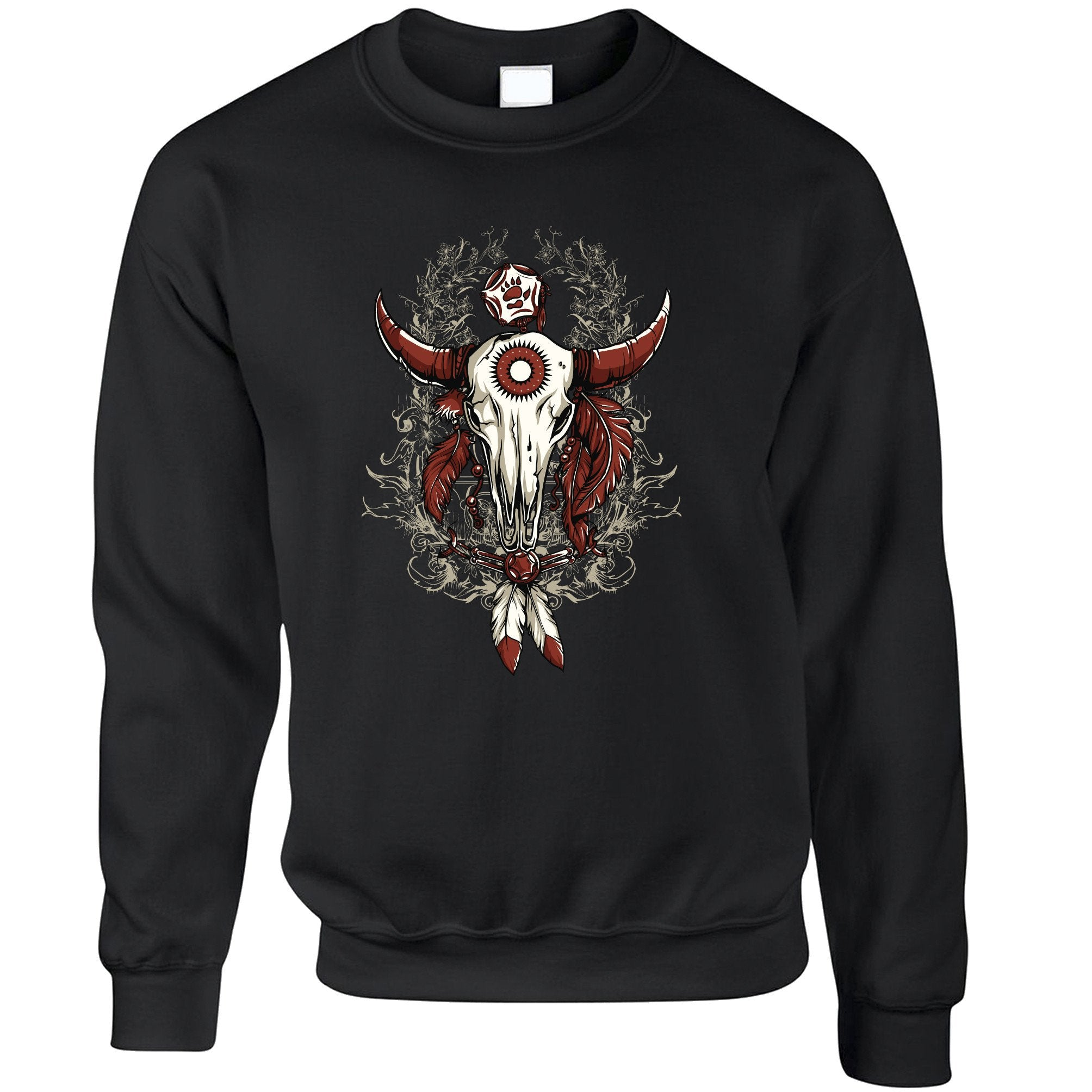 Native American Art Jumper Bull Skull and Feathers Sweatshirt Sweater