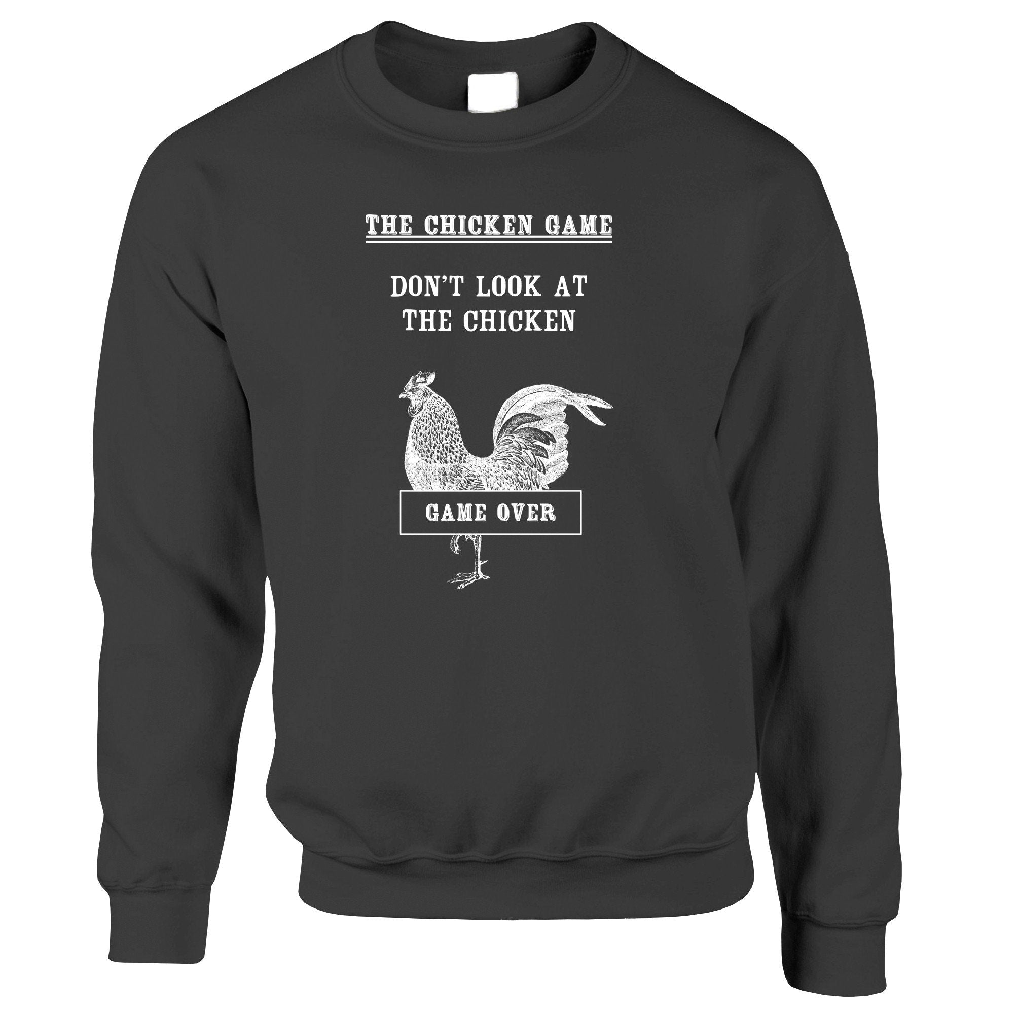 Novelty Jumper Don't Look At The Chicken Game Joke Sweatshirt Sweater
