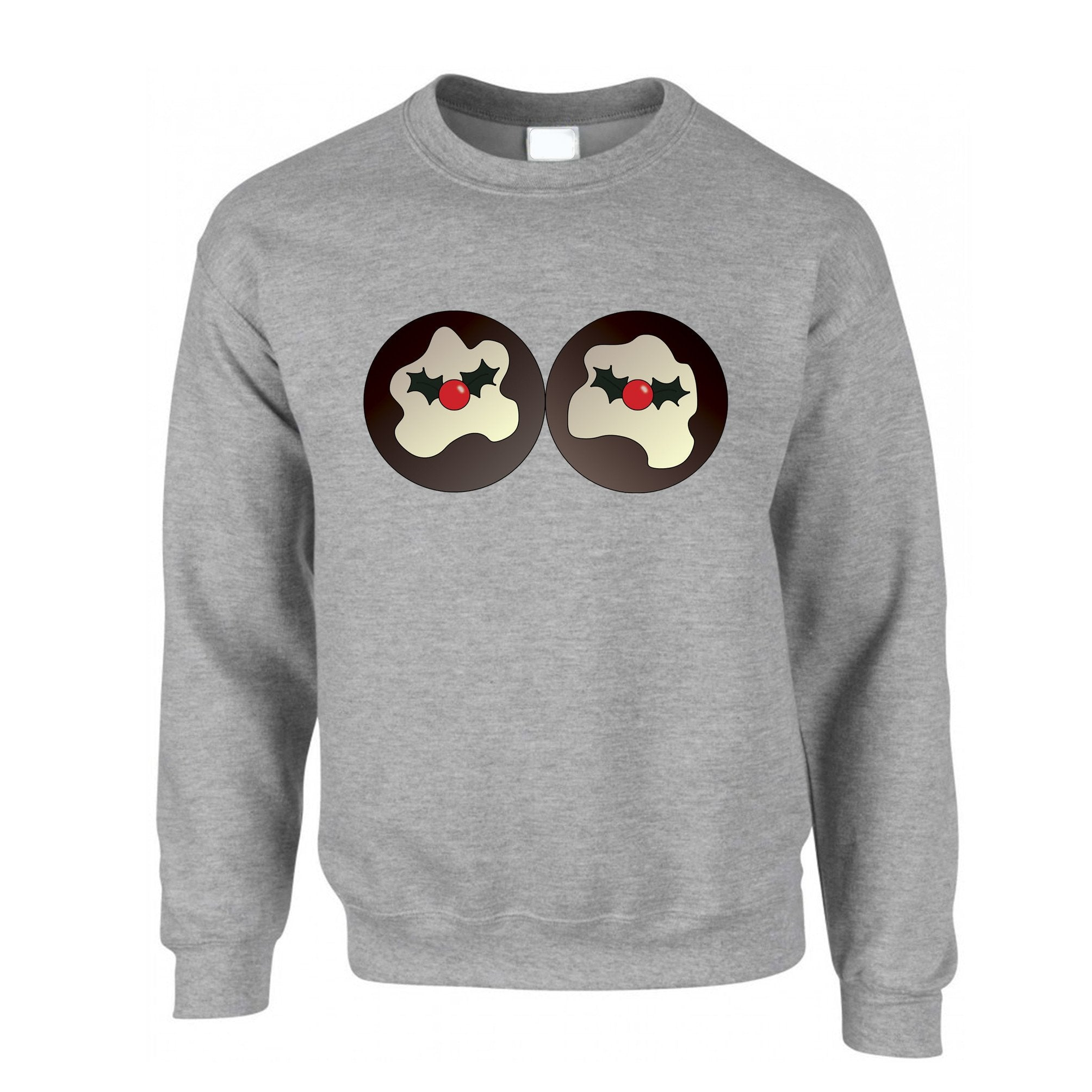 Rude Xmas Jumper Christmas Pudding Breasts Sweatshirt Sweater