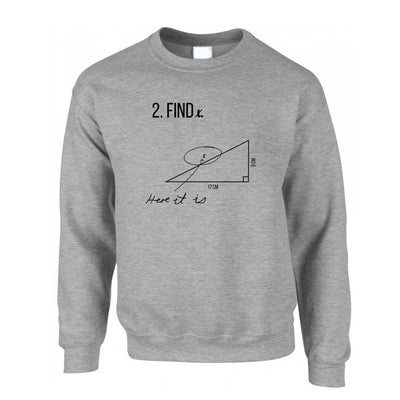 Novelty Math Jumper Find X, Here It Is, Exam Answer Sweatshirt Sweater