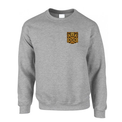 Hipster Jumper Leopard Print Fake Pocket Sweatshirt Sweater