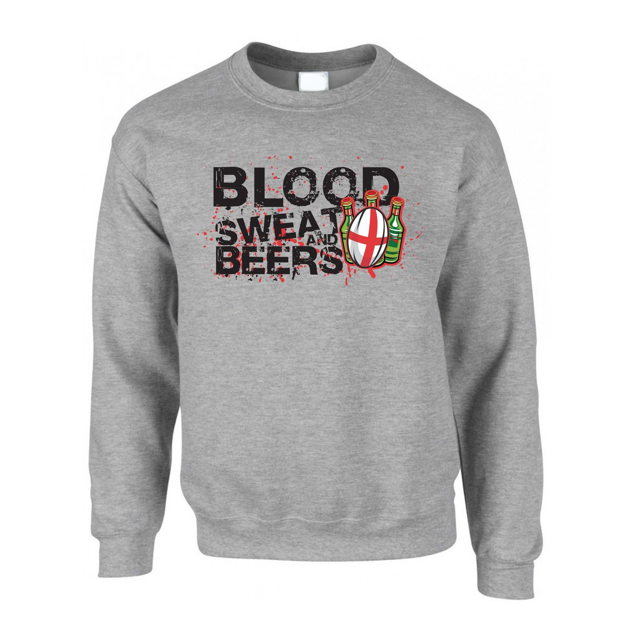 England Rugby Supporter Jumper Blood, Sweat And Beers Sweatshirt