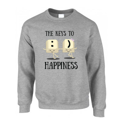 Novelty Computer Jumper The Keys To Happiness :) Pun Sweatshirt Sweater