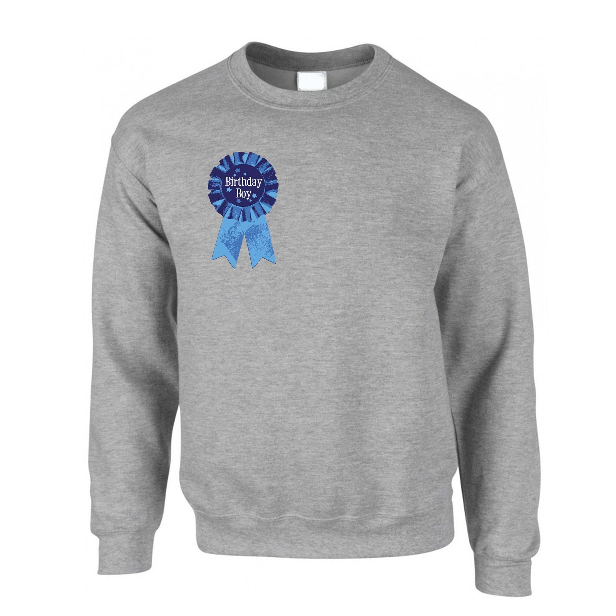 Novelty Party Jumper Birthday Boy Pocket Print Badge Sweatshirt Sweater