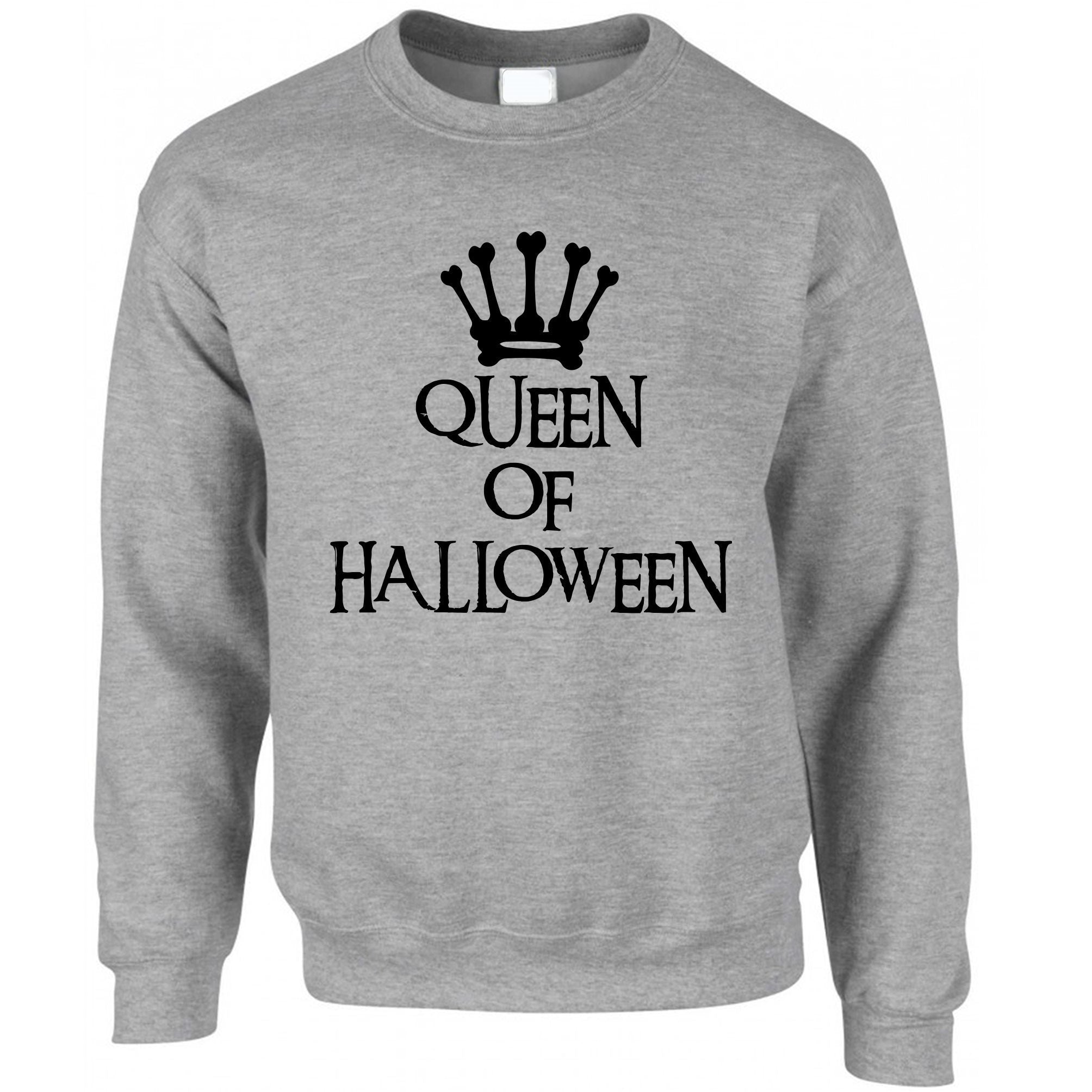 Novelty Spooky Jumper Queen Of Halloween Crown Sweatshirt Sweater