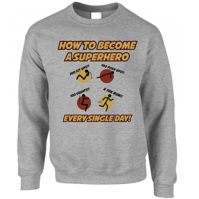 Novelty Anime Parody Jumper How To Become A Superhero Sweatshirt