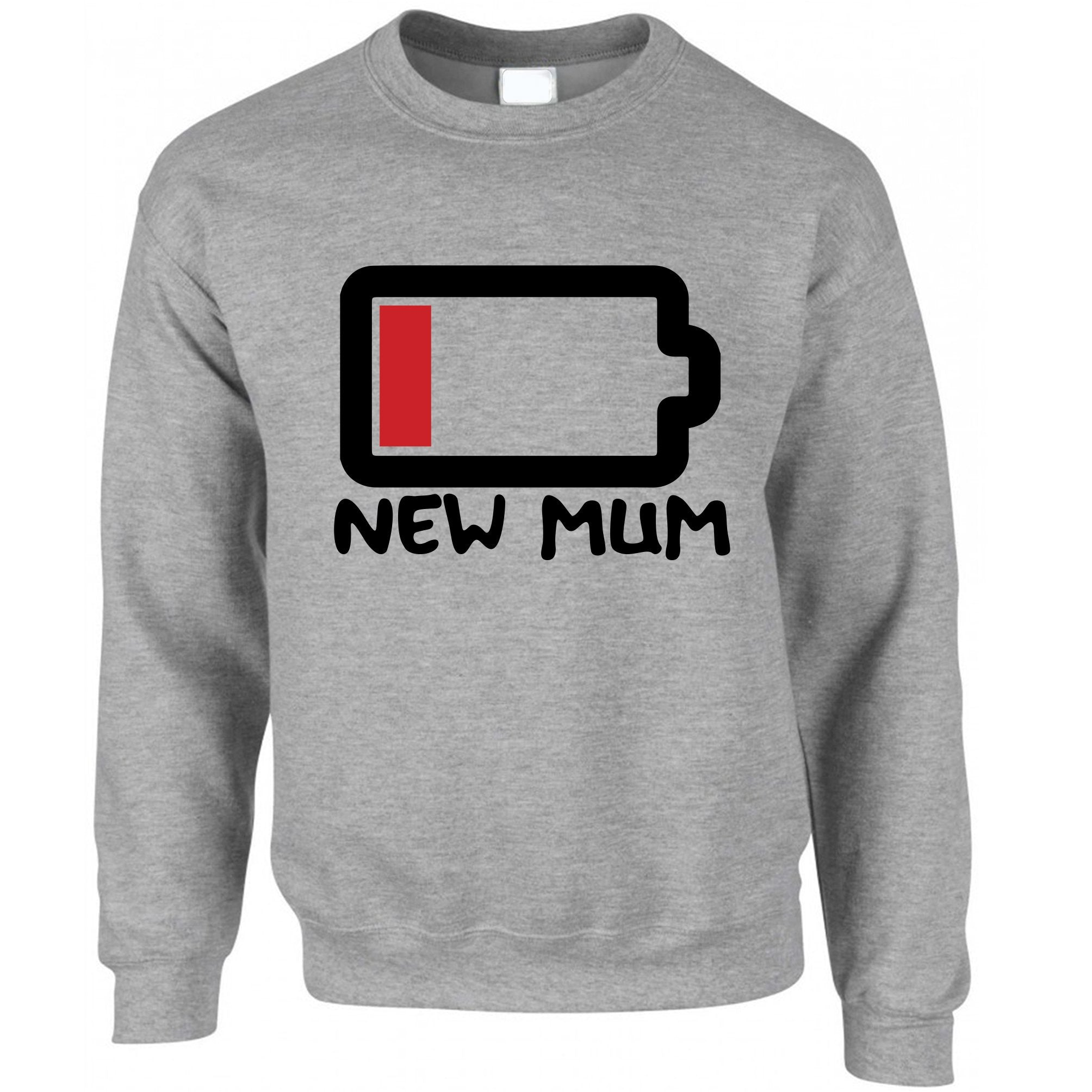 New Mum Jumper Low Battery Remaining Novelty Joke Sweatshirt Sweater