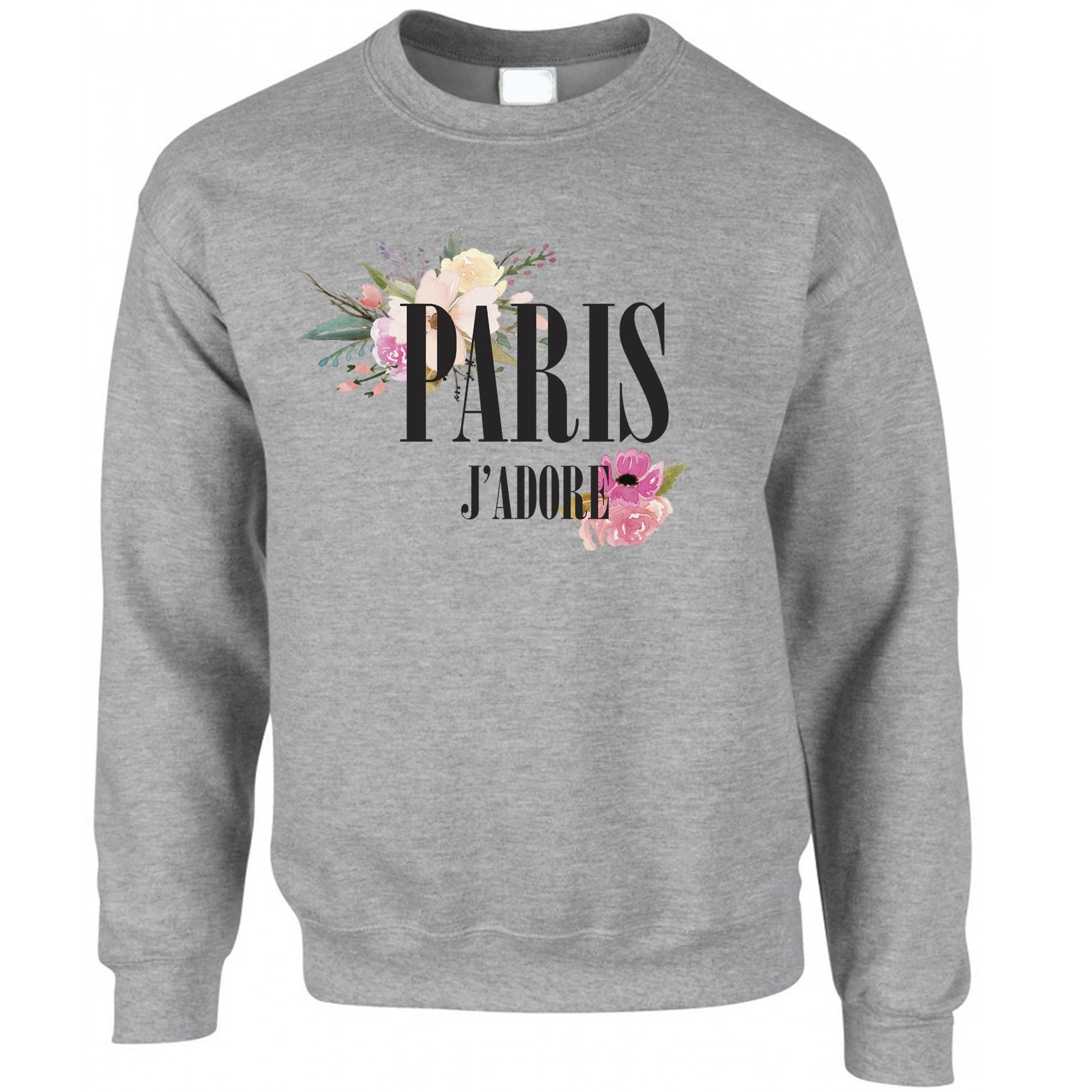 Watercolour Art Jumper J'adore Paris Flowers Logo Sweatshirt Sweater