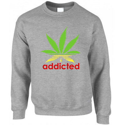 Addicted Sweatshirt Jumper Cannabis Leaf Parody