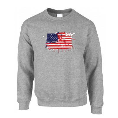American Jumper Paint Splatter USA Flag Sweatshirt Sweater