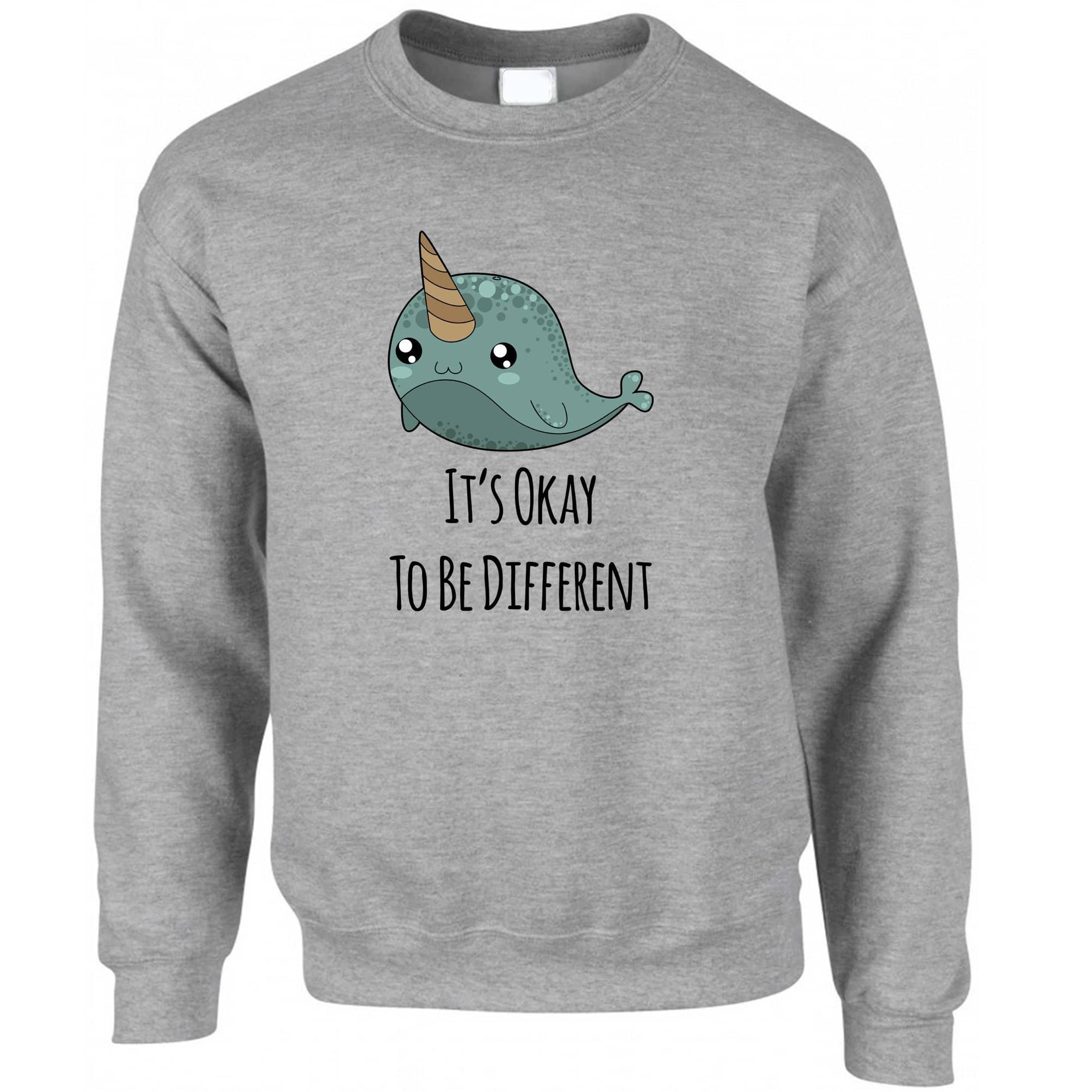 Cute Narwhal Jumper It's Okay To Be Different Slogan Sweatshirt Sweater