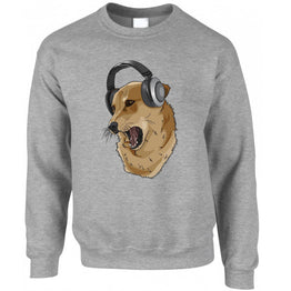 Cute Music Sweatshirt Jumper Shibe Dog Wearing Headphones