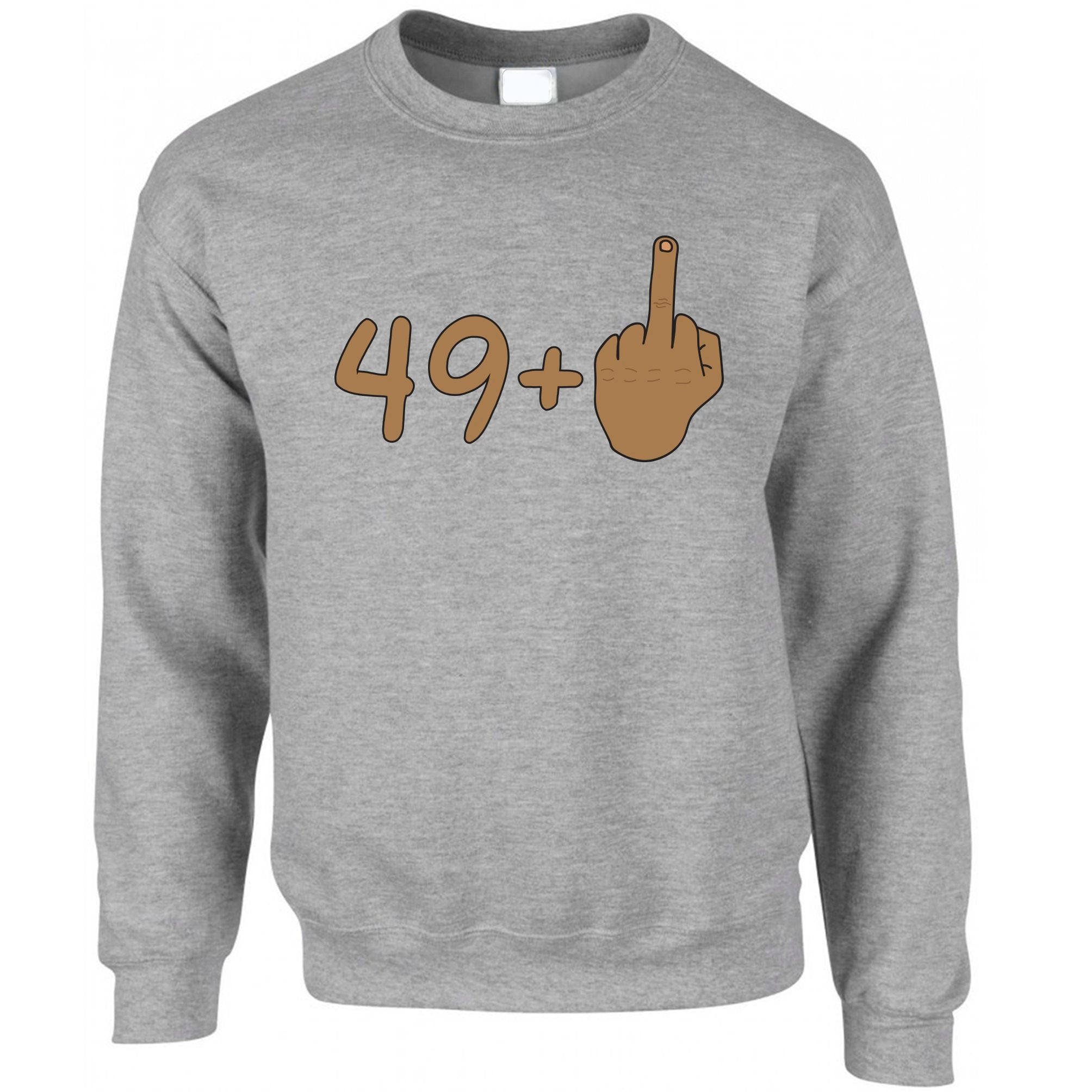Rude 50th Birthday Jumper Tanned Middle Finger Sweatshirt Sweater