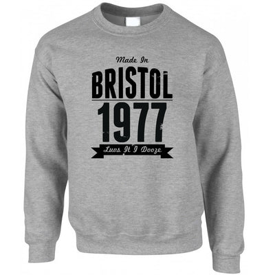 Birthday Jumper Made In Bristol, England 1977 & Motto Sweatshirt