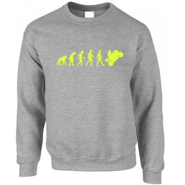 Biking Sweatshirt Jumper Evolution Of A Motorbike Neon Yellow