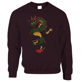 Traditional Chinese Sweatshirt Jumper Serpent Dragon Art