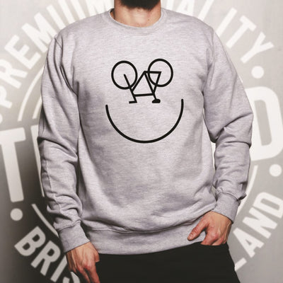 Cycling Jumper Bicycle Happy Smiling Face Logo Sweatshirt Sweater