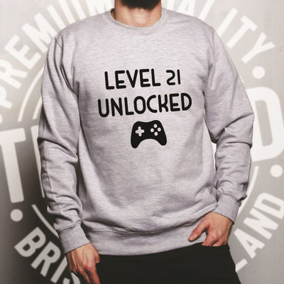 Gamers 21st Birthday Jumper Level 21 Unlocked Slogan Sweatshirt Sweater