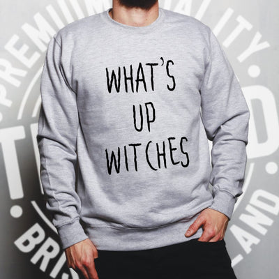 Novelty Halloween Sweatshirt What's Up Witches Pun