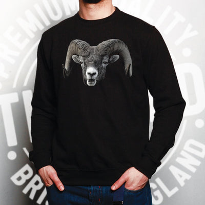 Ram Face Sweatshirt Cool Horned Goat Head