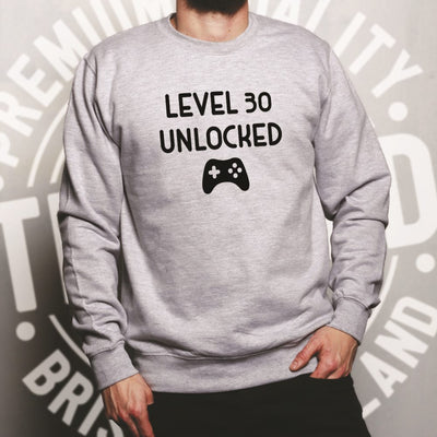 Gamers 30th Birthday Jumper Level 30 Unlocked Slogan Sweatshirt Sweater
