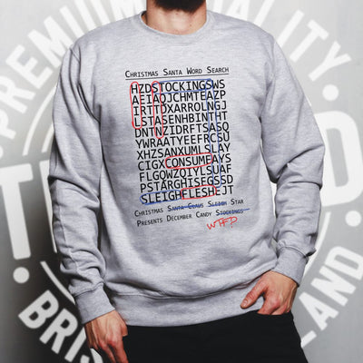 Halloween Christmas Jumper Crossword Hidden Words Sweatshirt Sweater