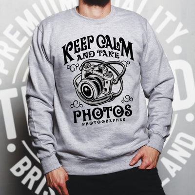 Retro Art Jumper Keep Calm And Take Photos Slogan Sweatshirt Sweater