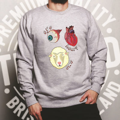 Creepy Jumper Eye Heart Ewe I Heart You Pun Sweatshirt Sweater