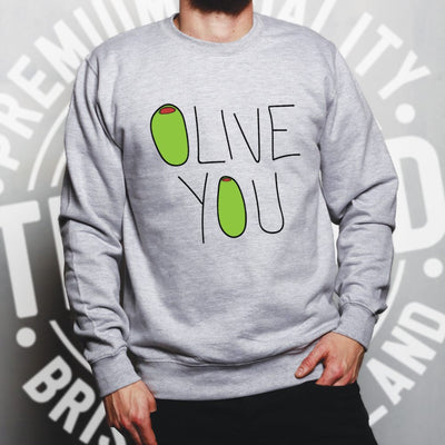 Valentines Day Jumper Olive You Slogan Sweatshirt Sweater