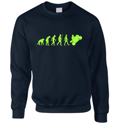 Motorcycle Jumper Neon Green Evolution of a Biker Sweatshirt Sweater