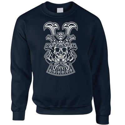 Samurai Art Jumper Skull And Helmet Design Sweatshirt Sweater