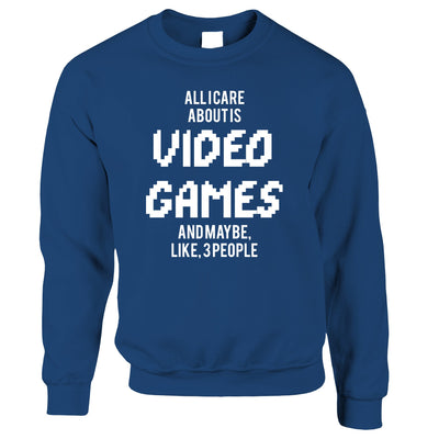 Joke Jumper All I Care About Is Games And 3 People Sweatshirt Sweater