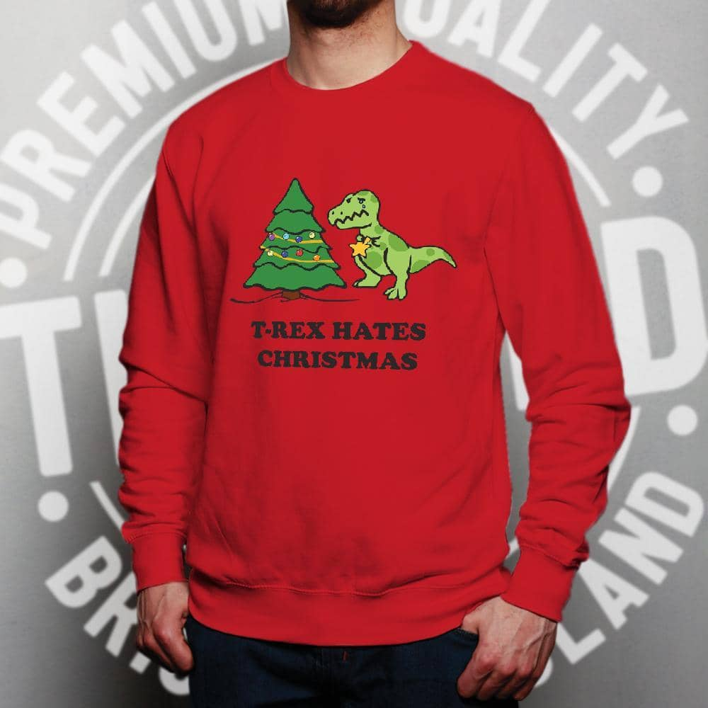 Novelty Xmas Jumper T-Rex Hates Christmas Joke Sweatshirt Sweater