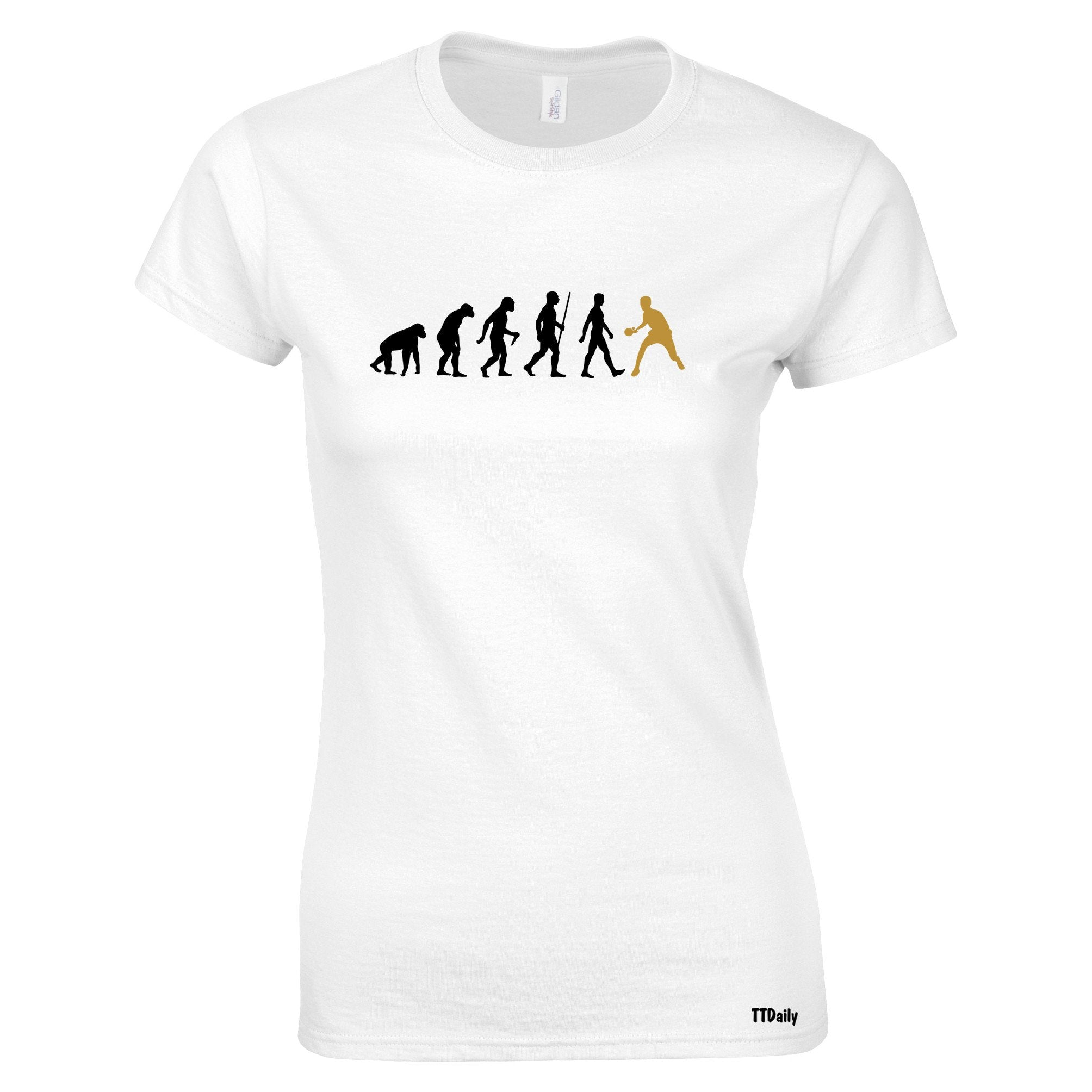 Table Tennis Womens T Shirt The Evolution Of Man Gold