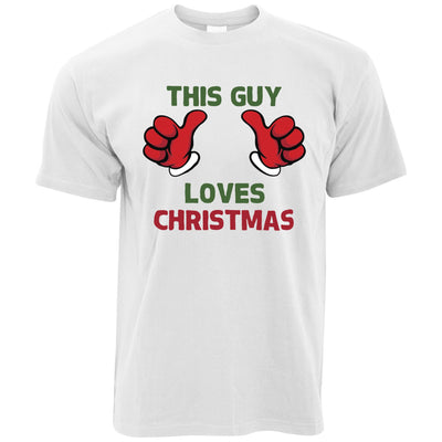 Novelty Christmas Mens T-Shirt This Guy Loves Christmas