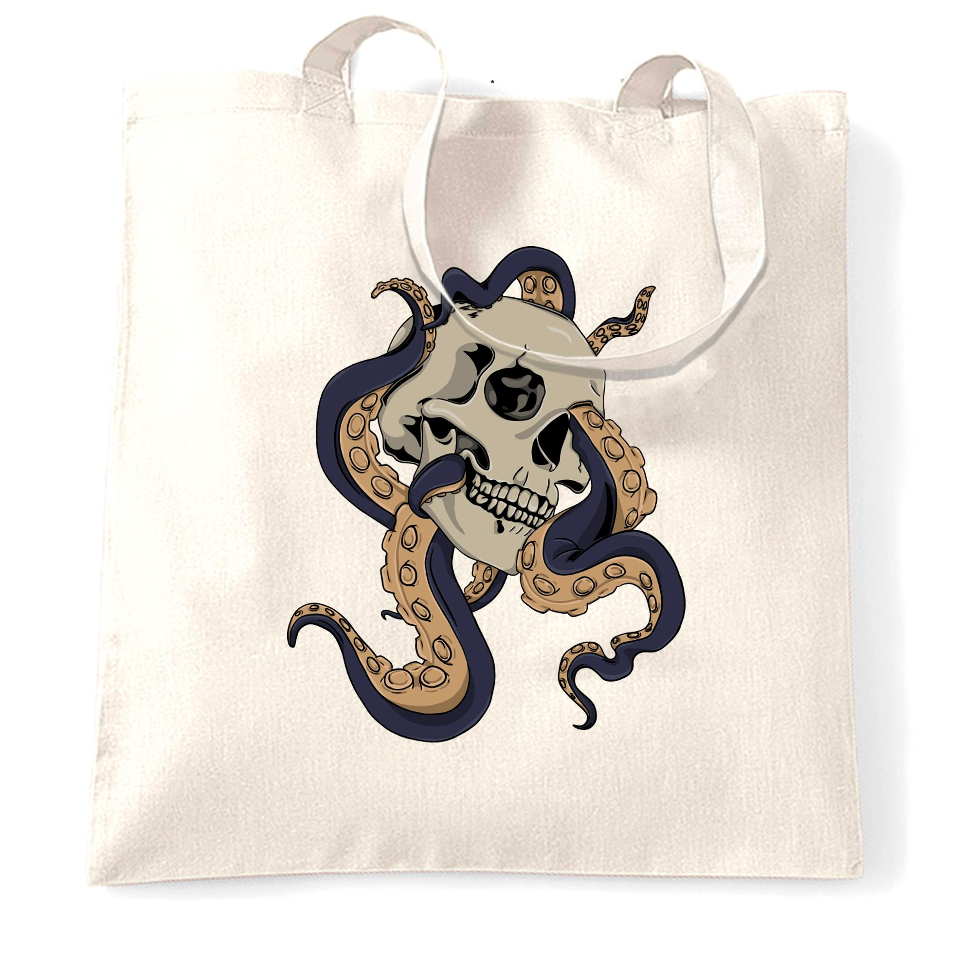 Tattoo Street Art Tote Bag Skull And Octopus Graphic