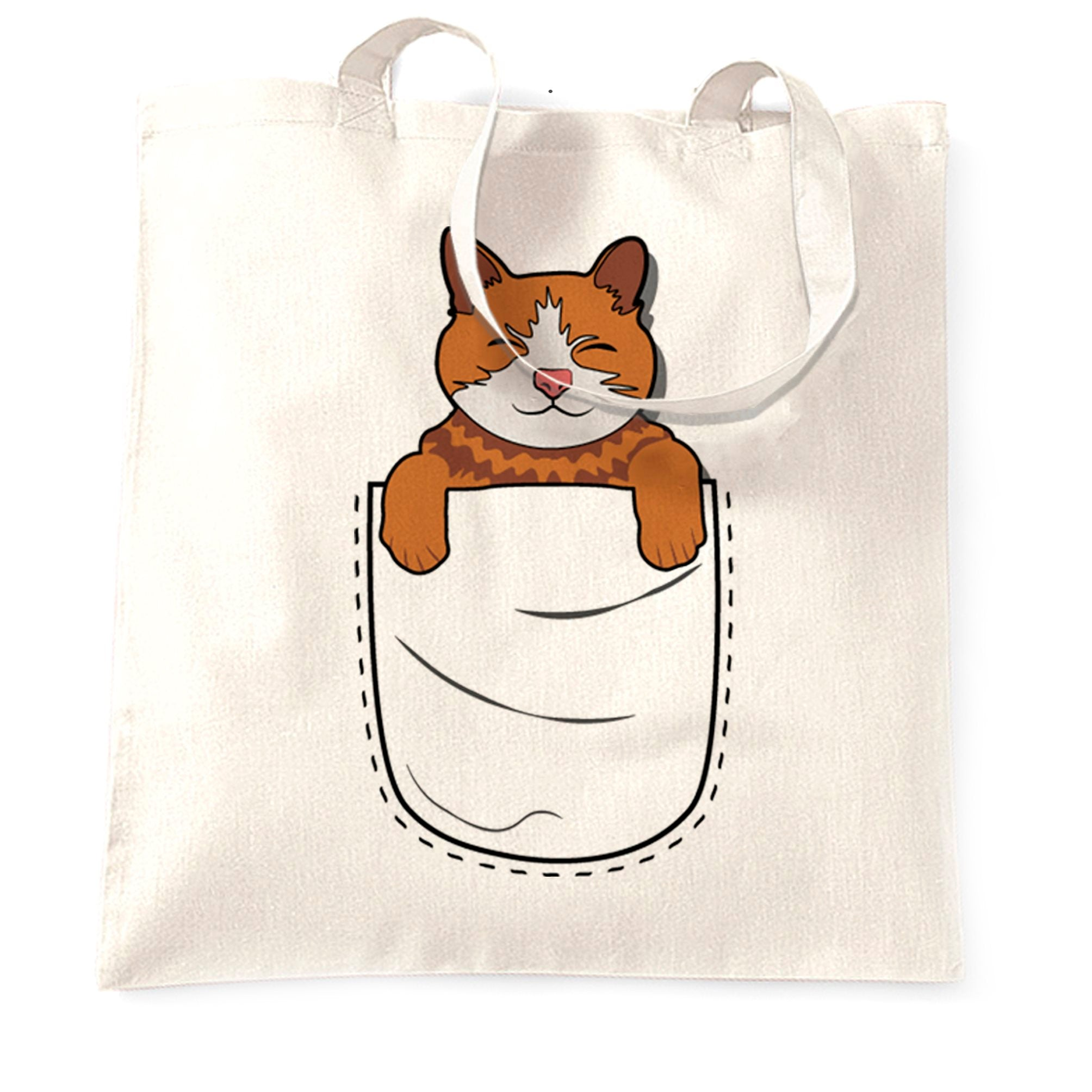 Funny Cute Cat Tote Bag Kitten in Pocket