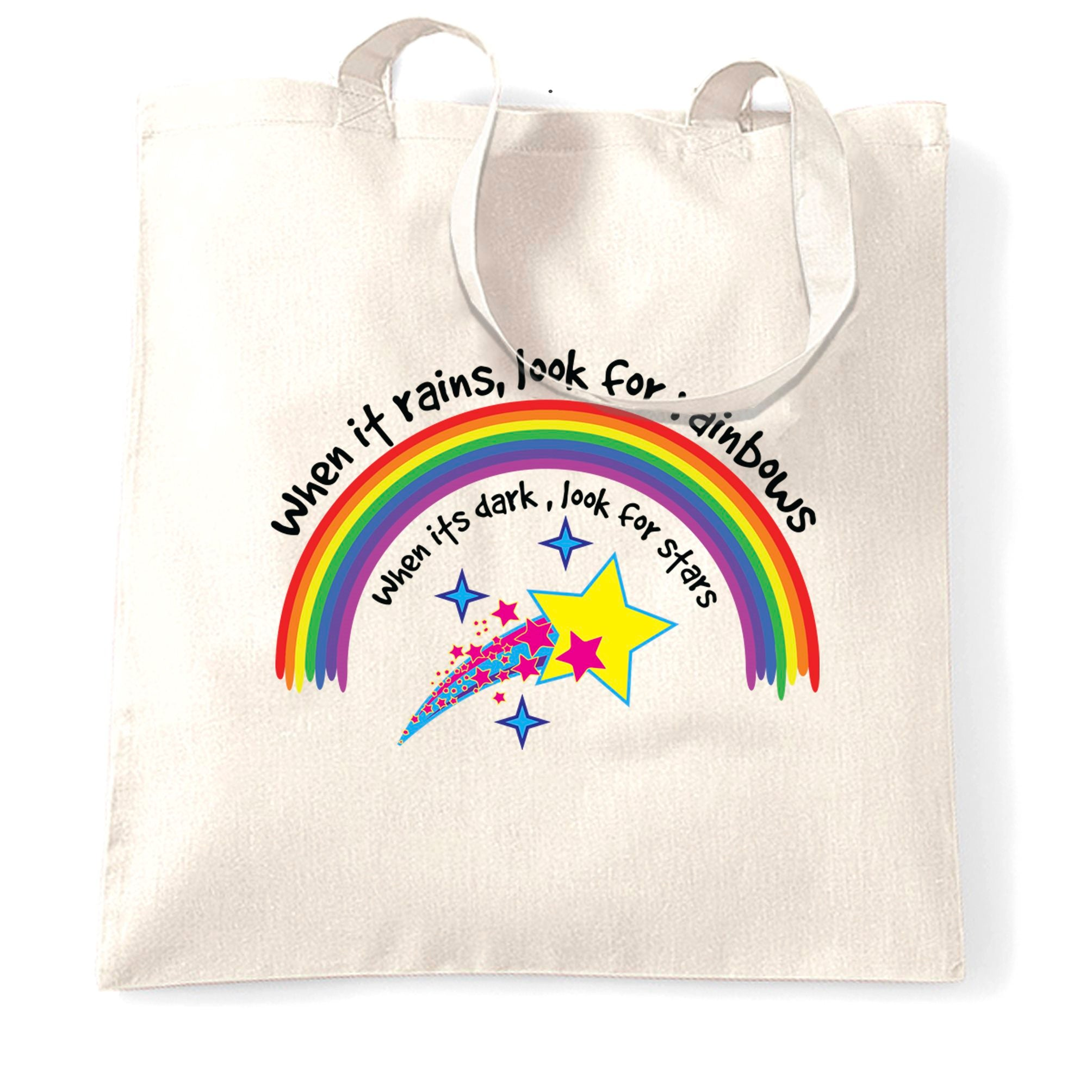 Inspirational Tote Bag When It Rains, Look For Rainbows