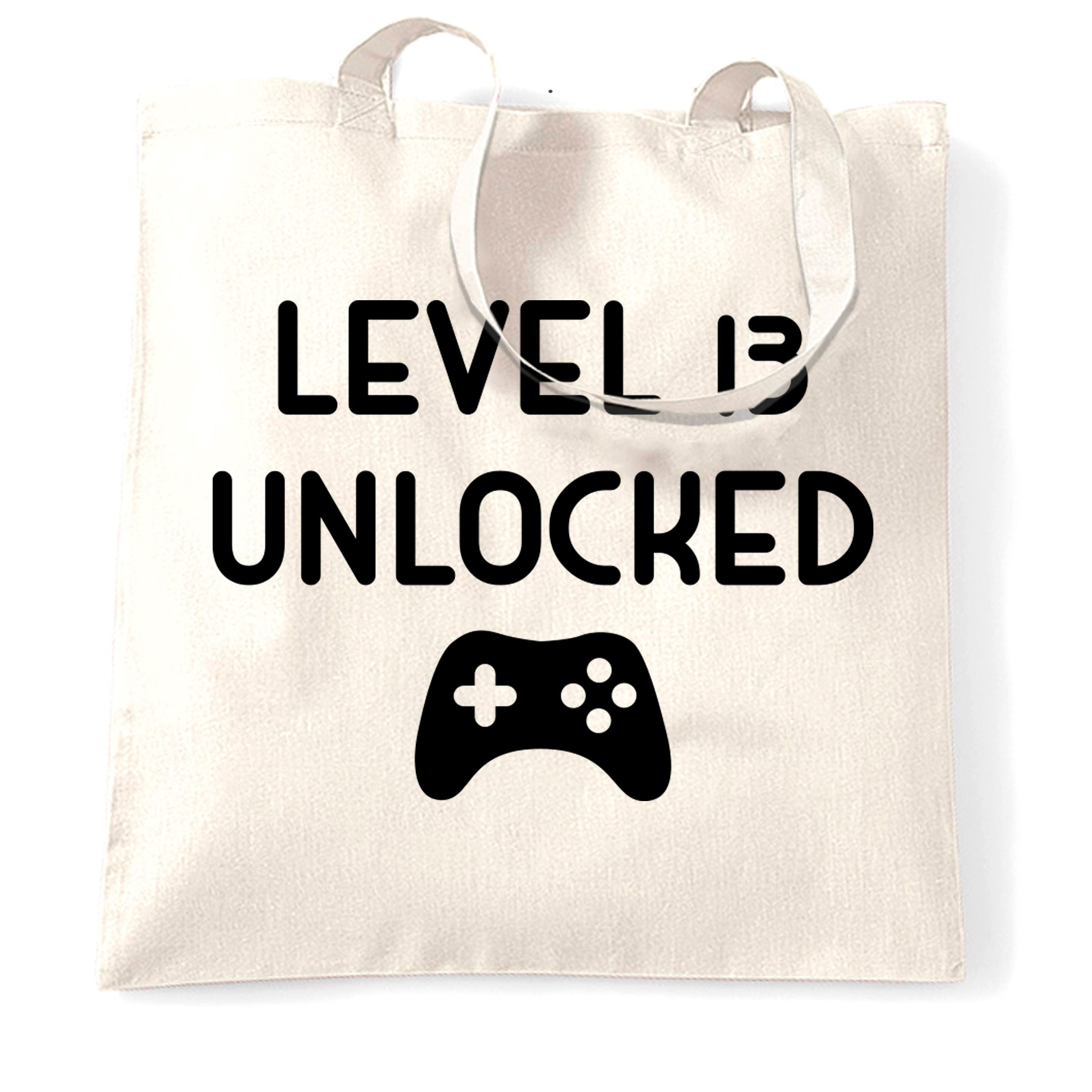 13th Birthday Gamer Tote Bag Level 13 Unlocked Slogan