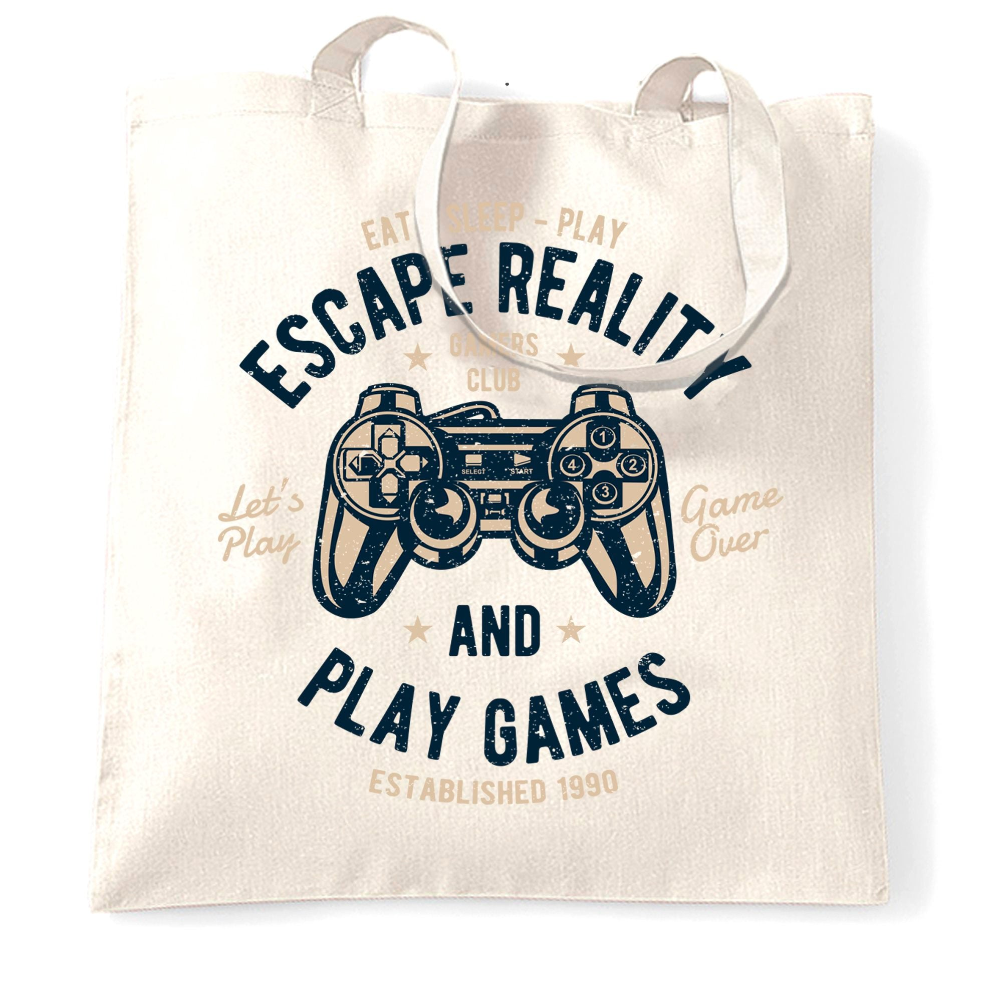 Retro Gamer Art Tote Bag Escape Reality And Play Games