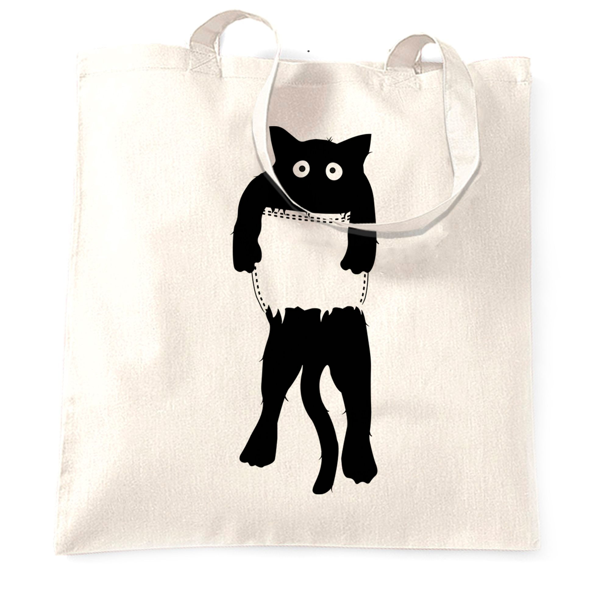 Funny Cute Cat Tote Bag Black Kitten in Pocket