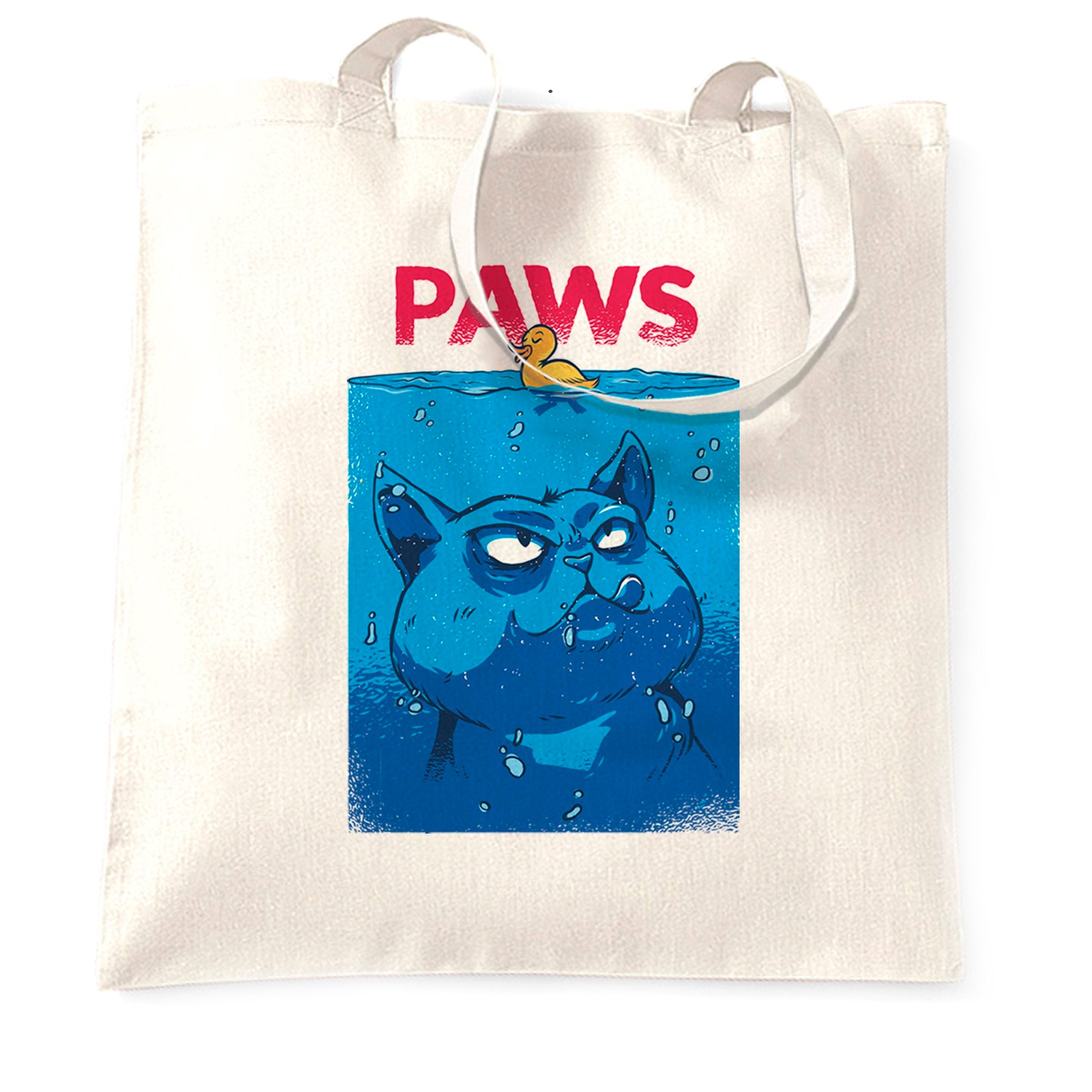 Funny Cat Tote Bag Paws The Movie Jaws Parody