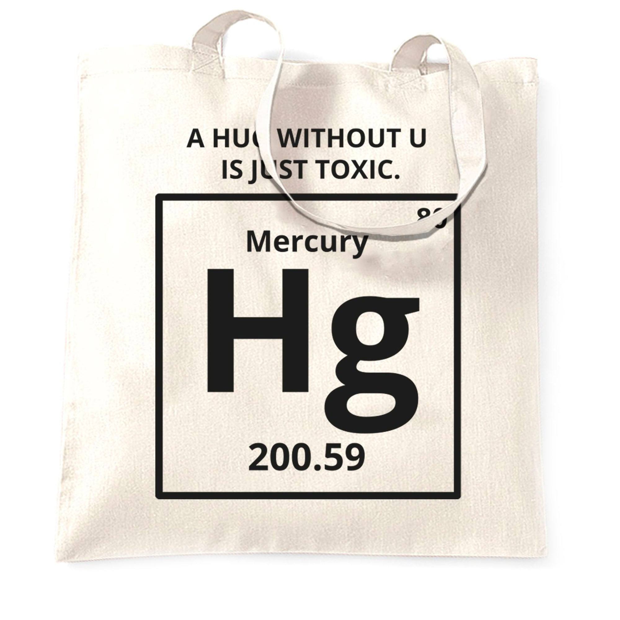 Funny Science Tote Bag Mercury Hug Chemistry Joke