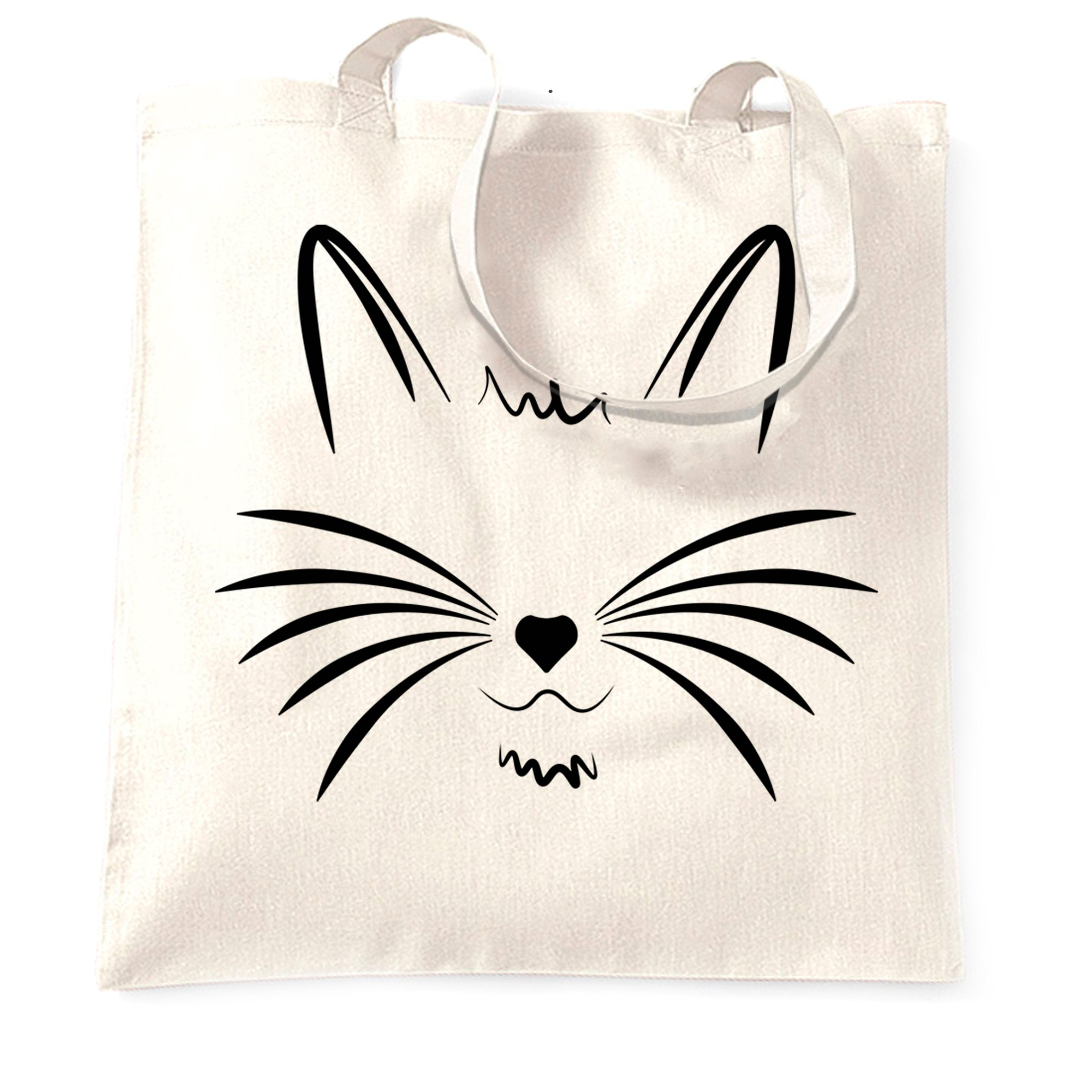 I Love Cats Tote Bag Face with Heart Nose