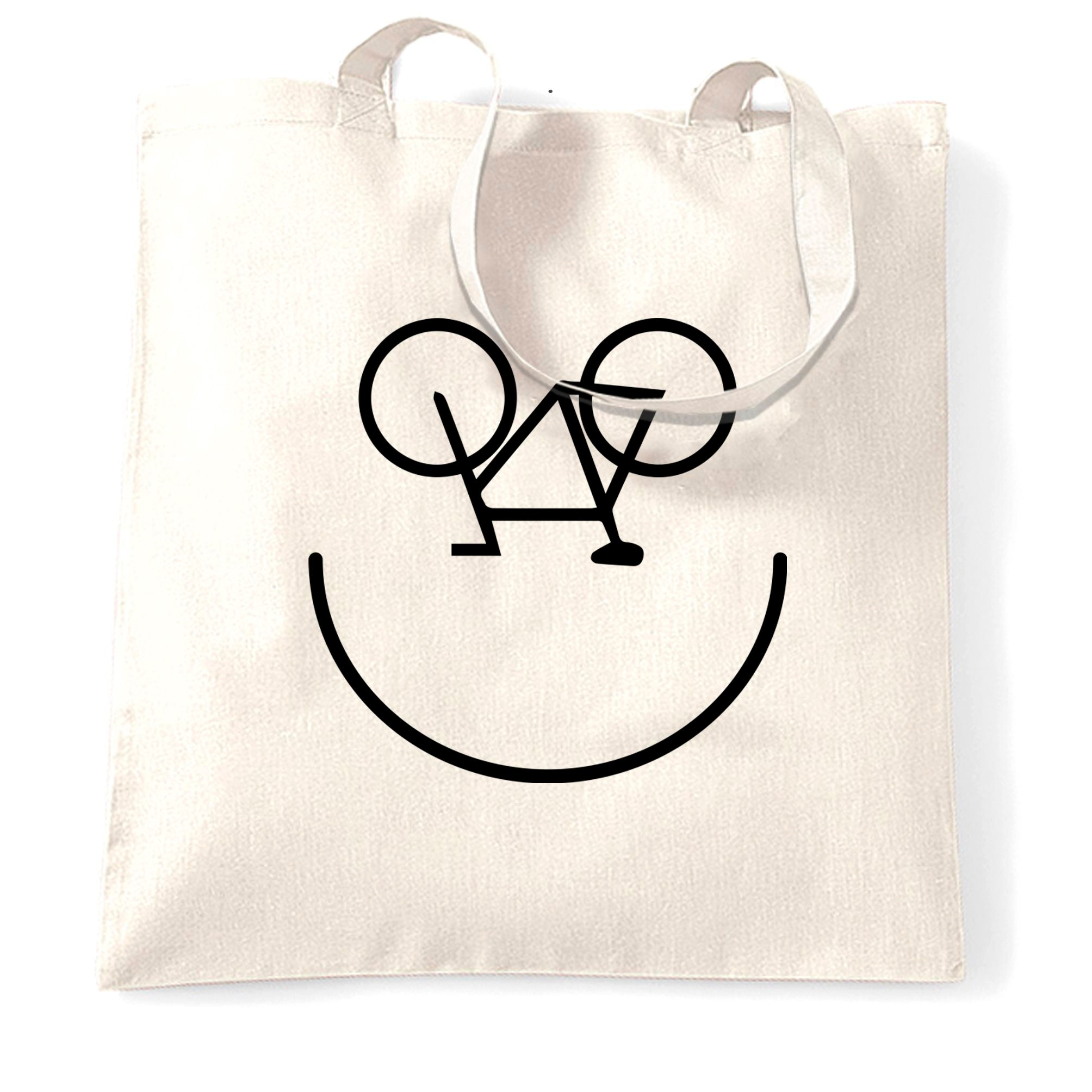 Cycling Tote Bag Bicycle Happy Smiling Face Logo