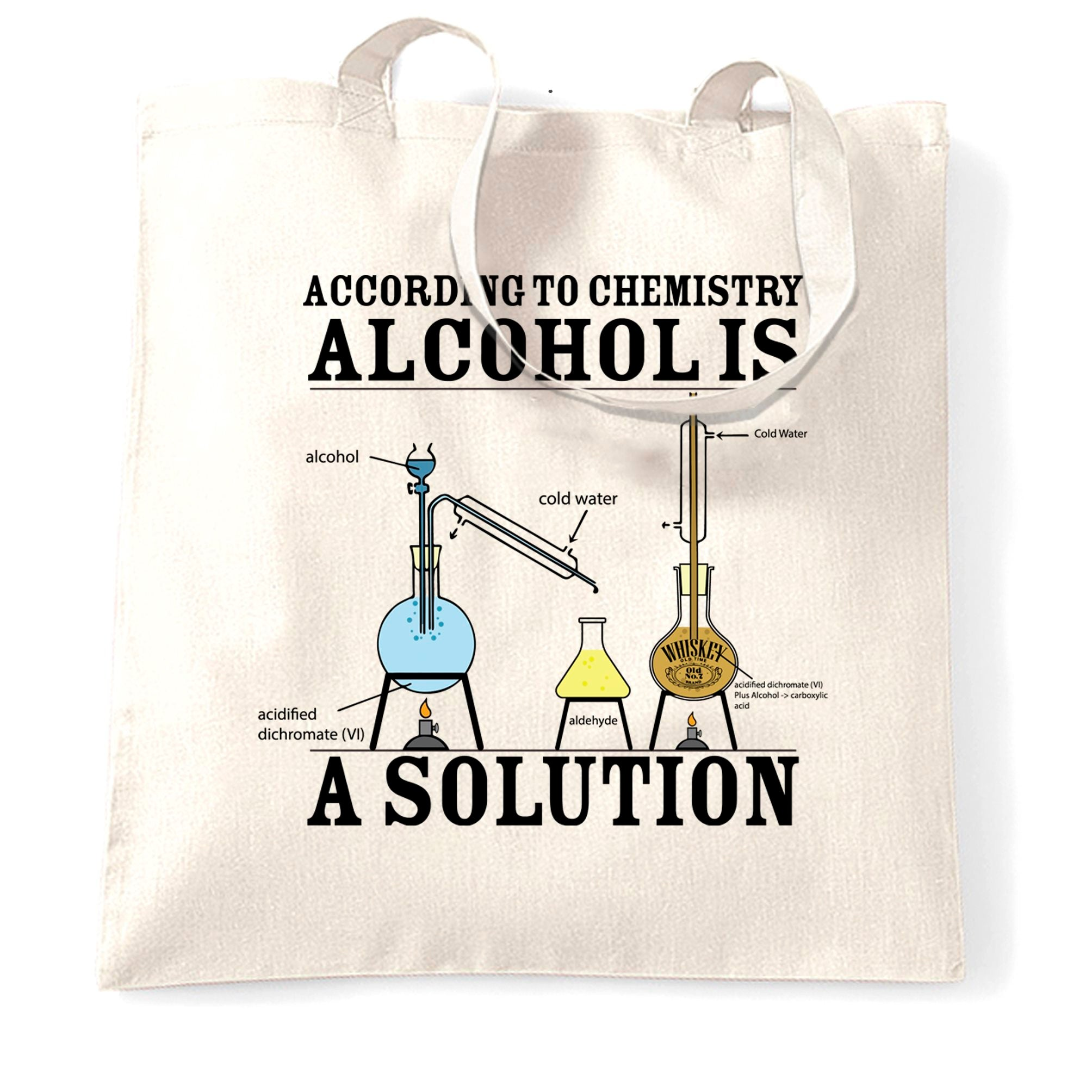 Pub Tote Bag According To Chemistry Alcohols a Solution