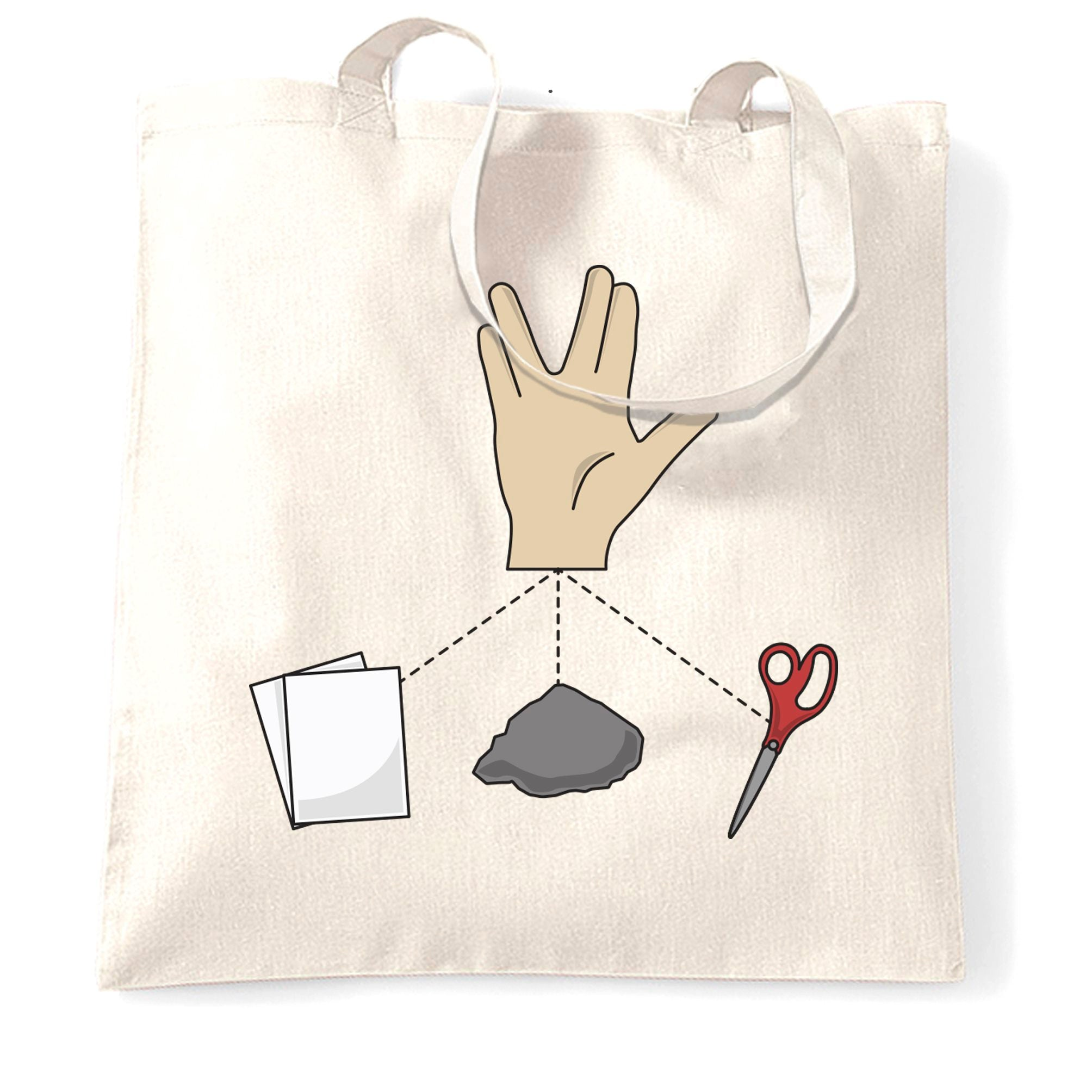 Nerdy Tote Bag Rock, Paper, Scissors and Spock Game