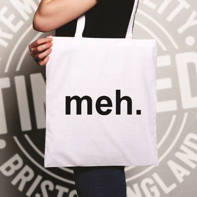 Novelty Tote Bag With Just The Word Meh.