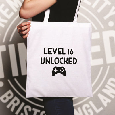 Gamers 16th Birthday Tote Bag Level 16 Unlocked Slogan